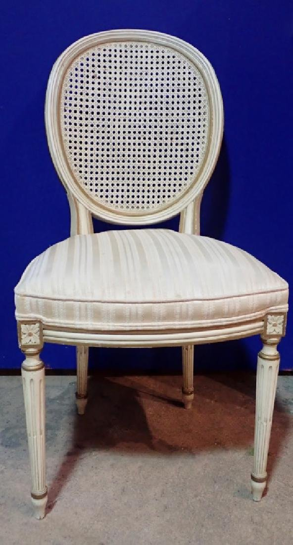 Set of 10 Wooden Upholstered Rattan Chairs