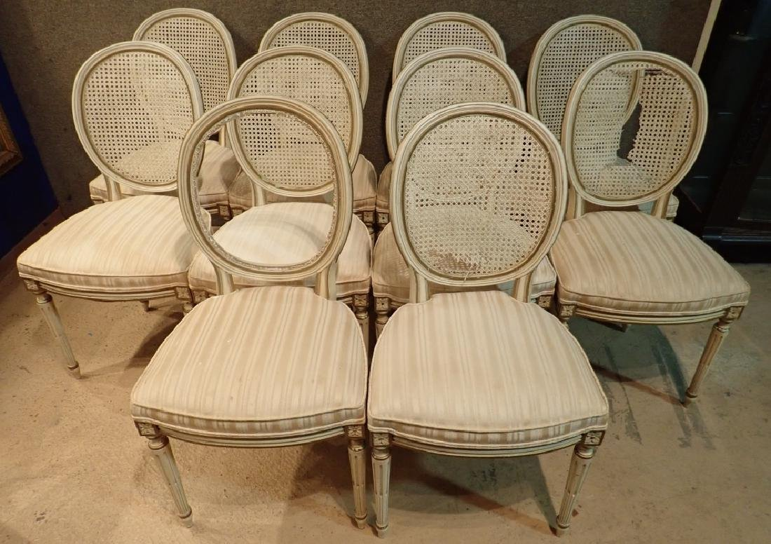 Set of 10 Wooden Upholstered Rattan Chairs - 2