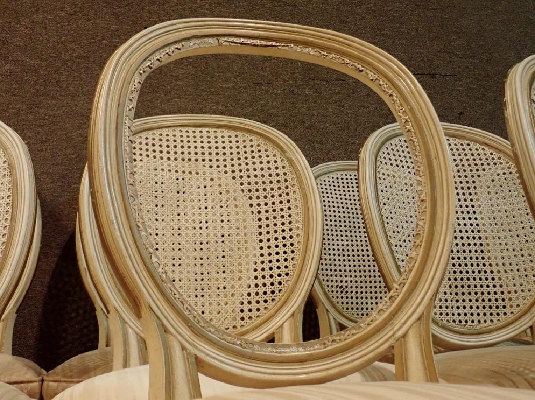 Set of 10 Wooden Upholstered Rattan Chairs - 5