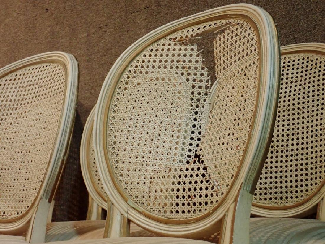 Set of 10 Wooden Upholstered Rattan Chairs - 6