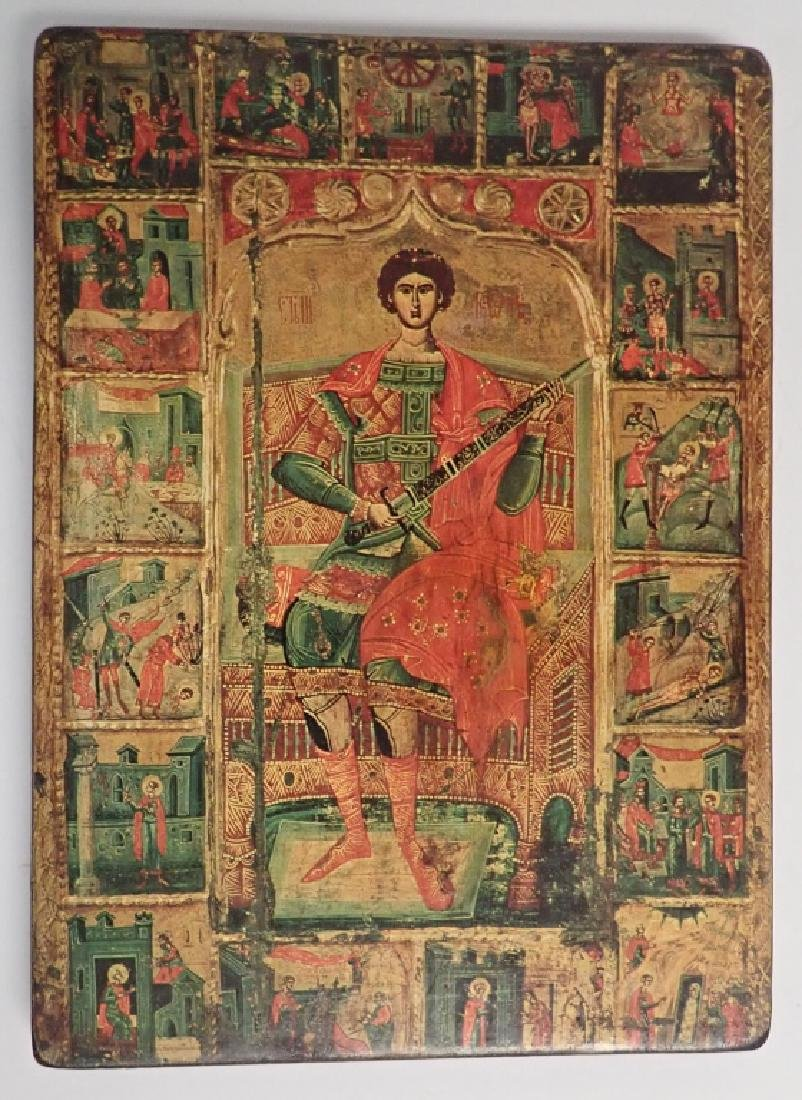 Saint St George Russian Orthodox Wooden Icon