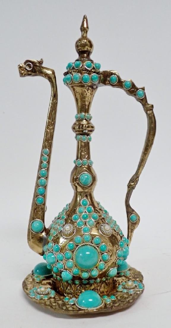 Stone Mounted Brass Ewer and Under-Tray Set