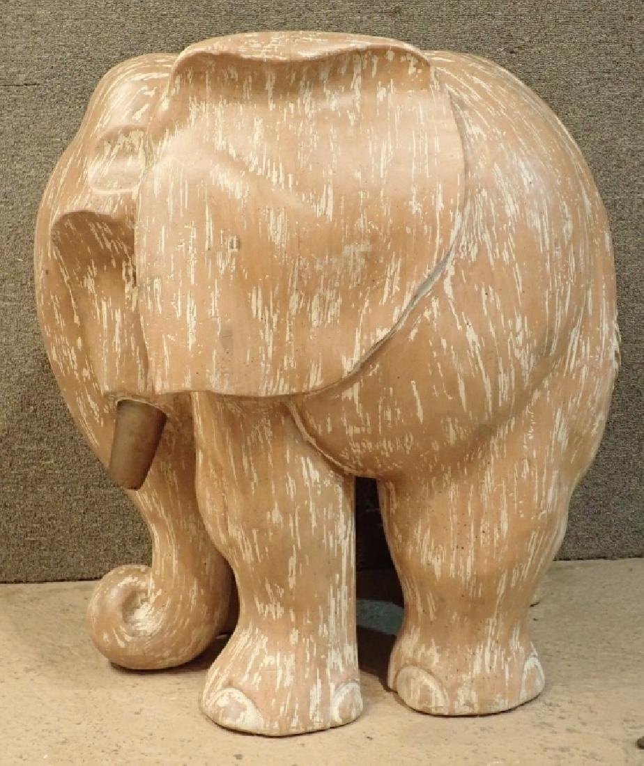 Wood Sculptural Carved Elephant Table Base