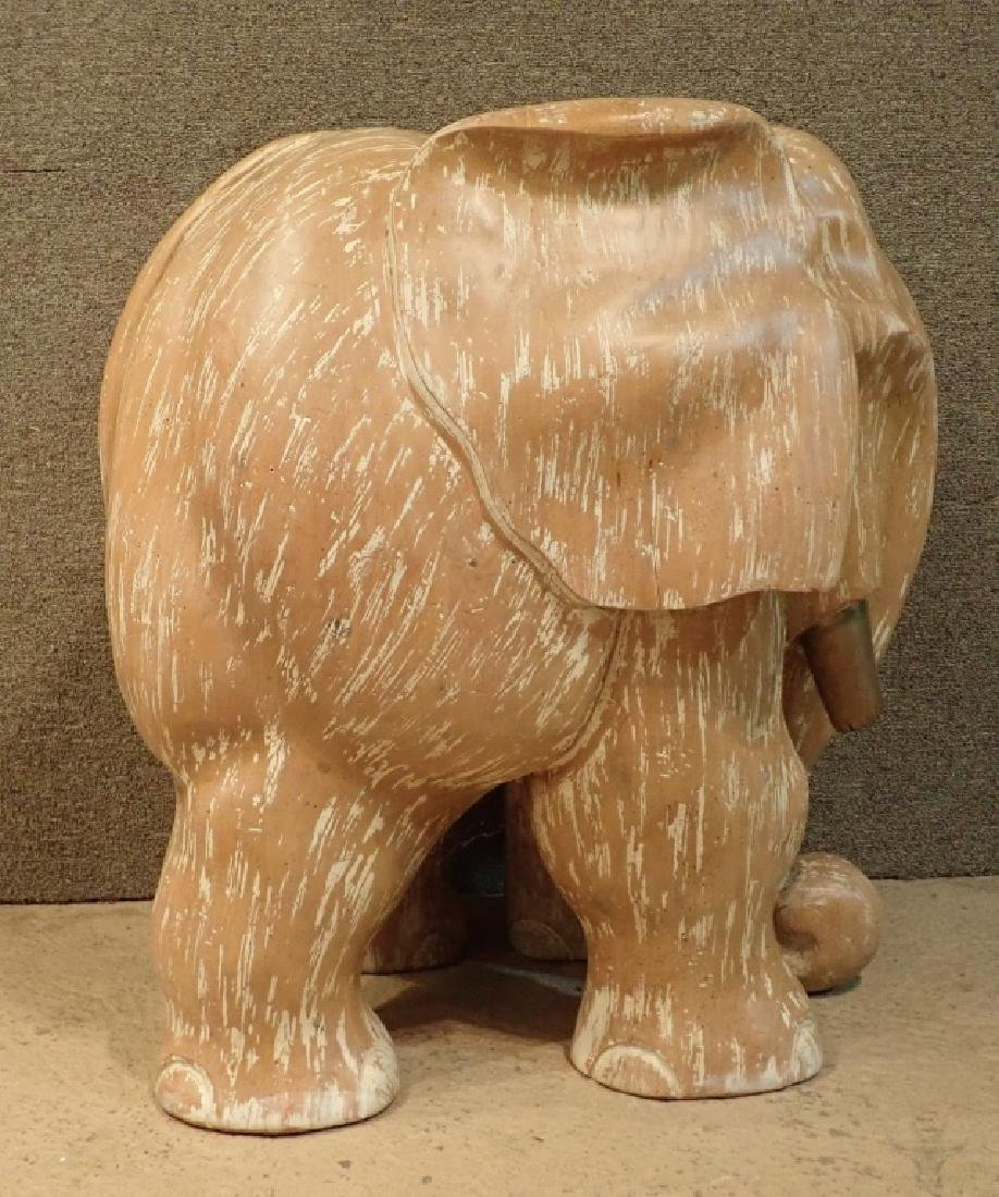 Wood Sculptural Carved Elephant Table Base - 3