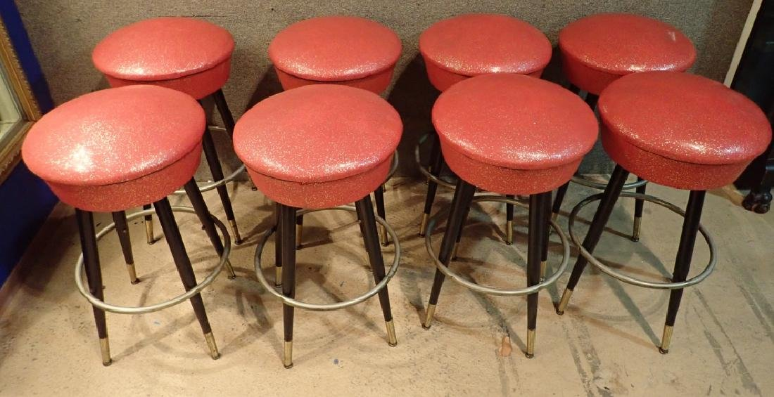 8 Mid-Century Upholstered Backless Bar Stools