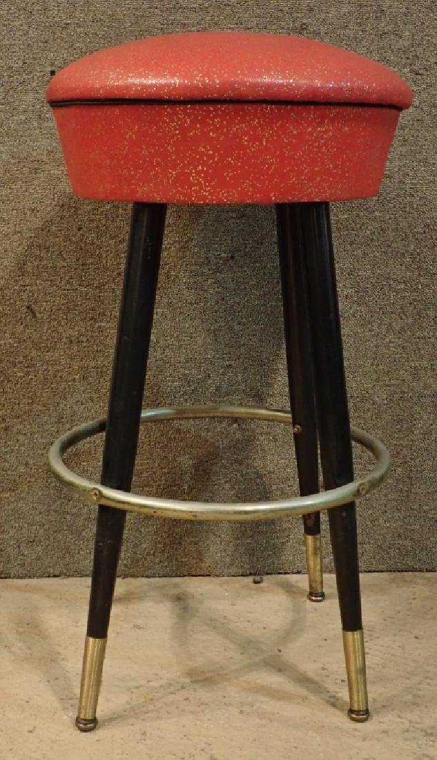 8 Mid-Century Upholstered Backless Bar Stools - 2