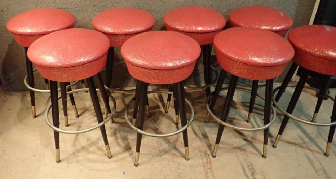 8 Mid-Century Upholstered Backless Bar Stools - 7