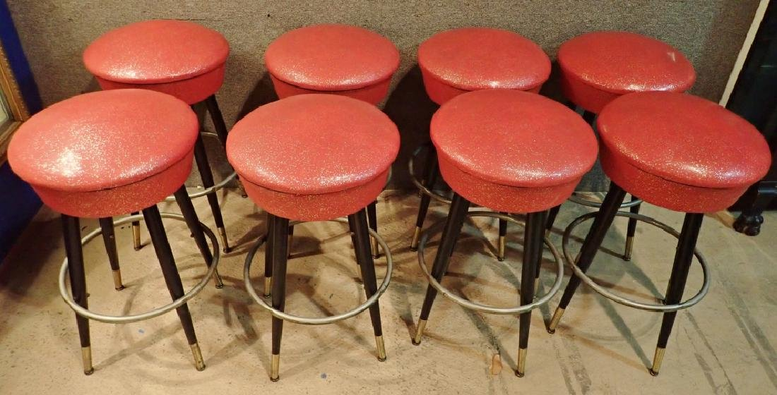 8 Mid-Century Upholstered Backless Bar Stools - 8
