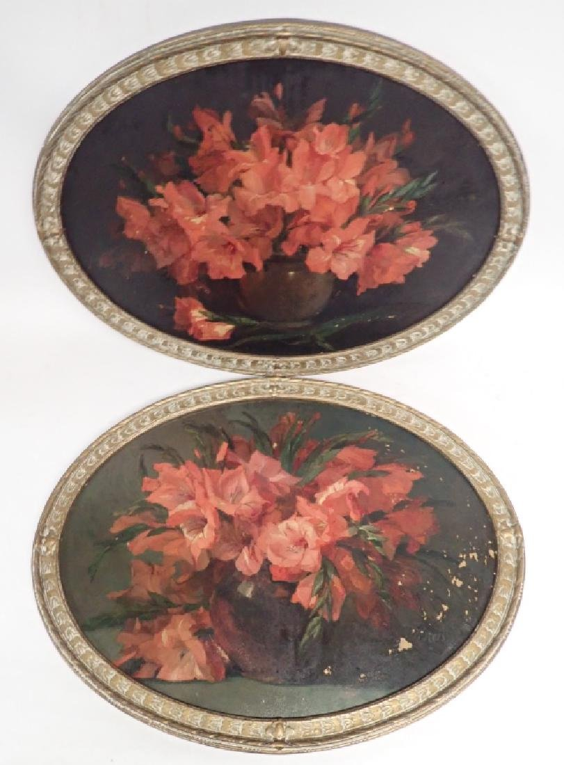Pair of Oval Framed Floral Oil Paintings