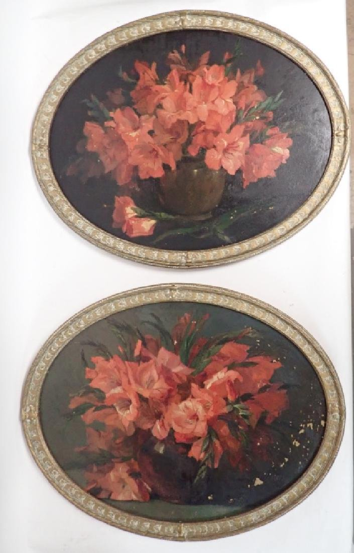 Pair of Oval Framed Floral Oil Paintings - 2