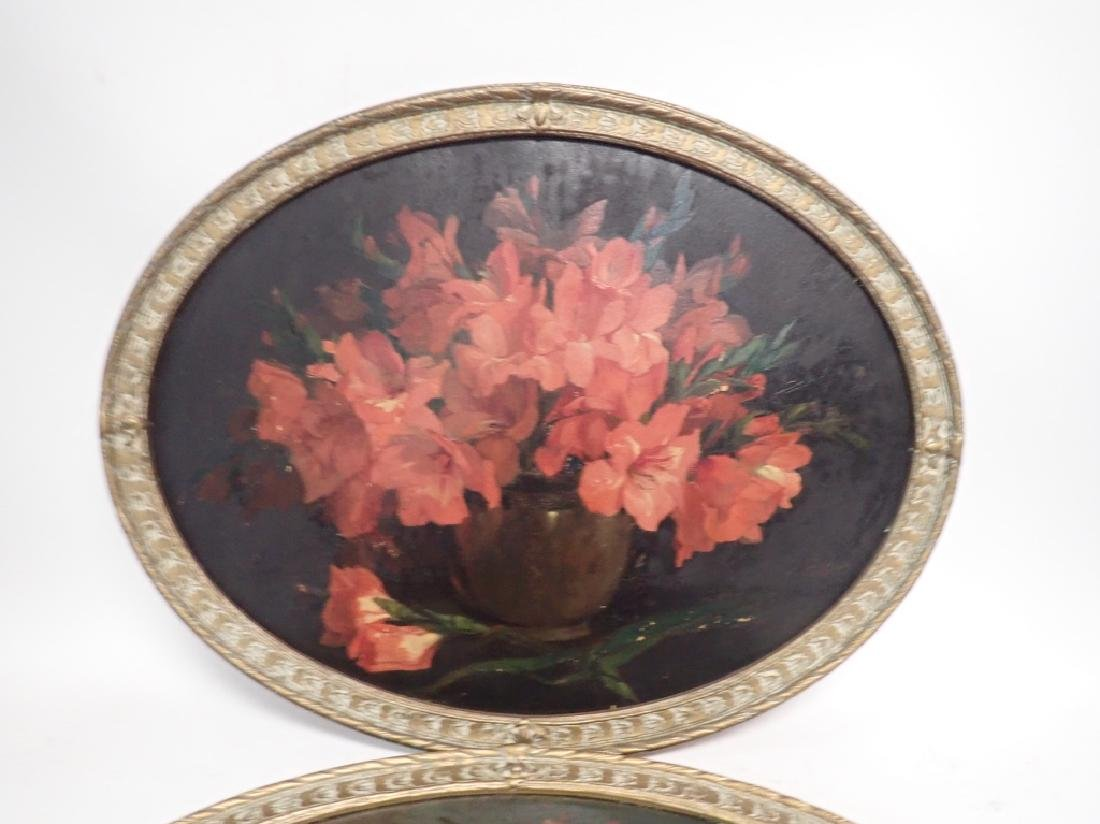 Pair of Oval Framed Floral Oil Paintings - 3