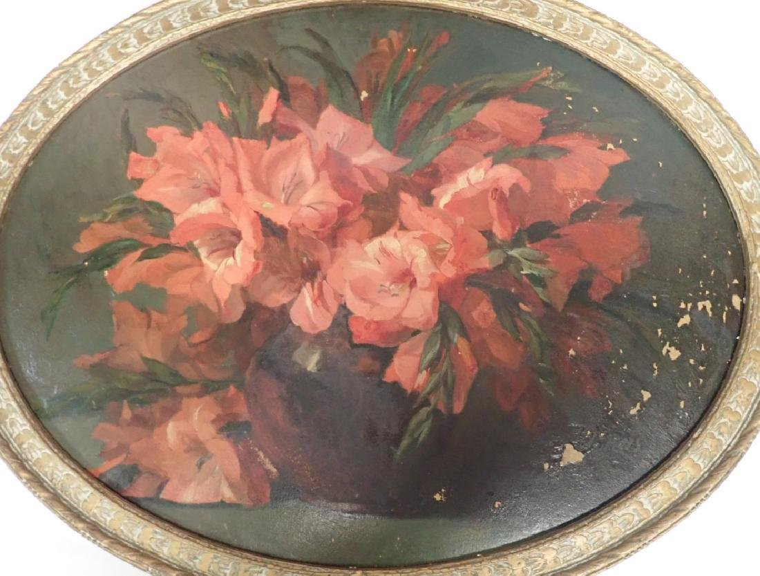 Pair of Oval Framed Floral Oil Paintings - 4