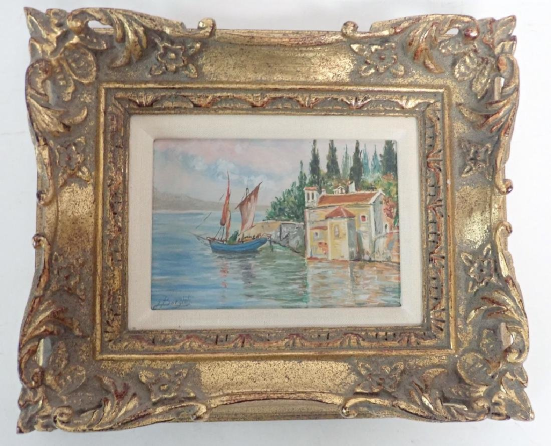 Signed Waterfront Villa Oil Painting