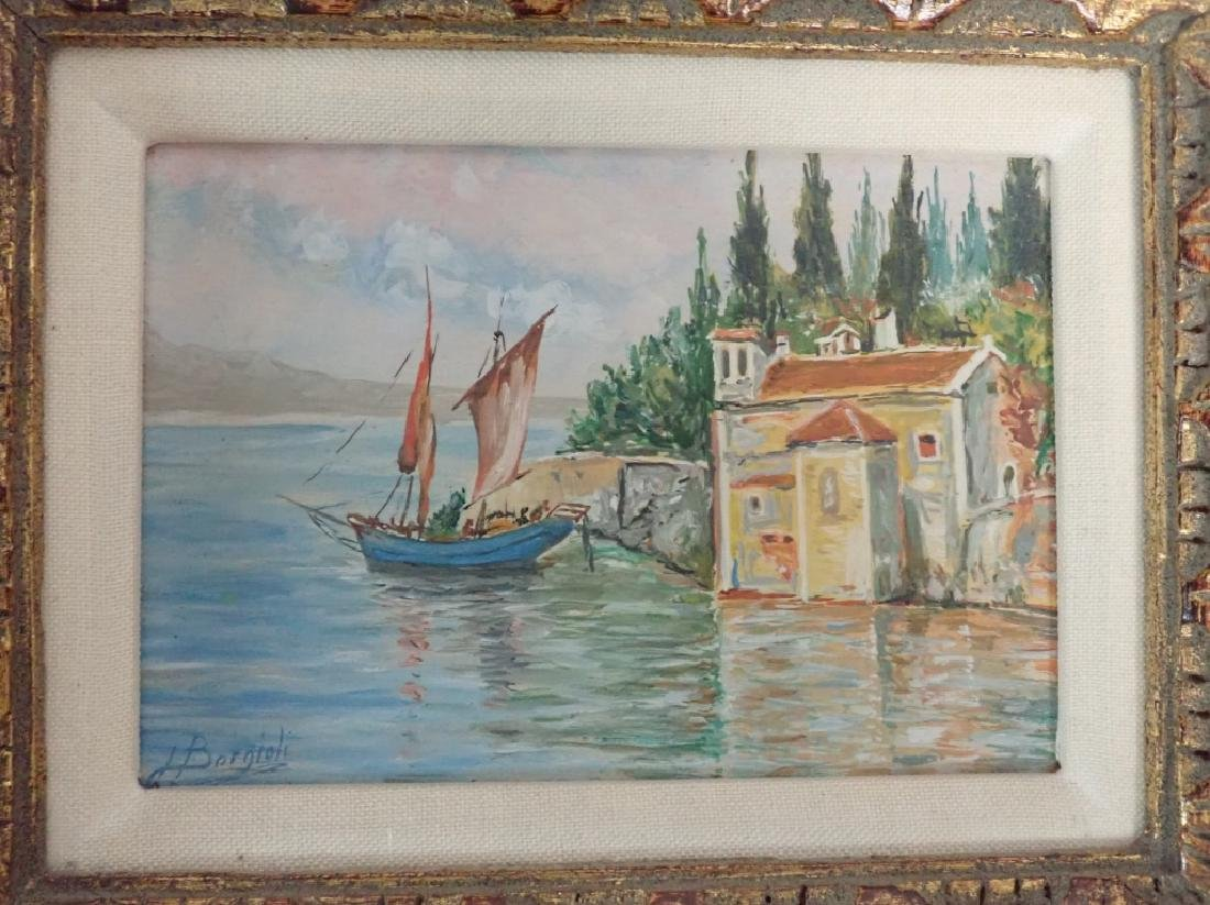 Signed Waterfront Villa Oil Painting - 2