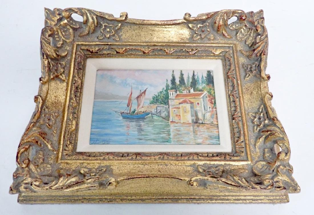 Signed Waterfront Villa Oil Painting - 4