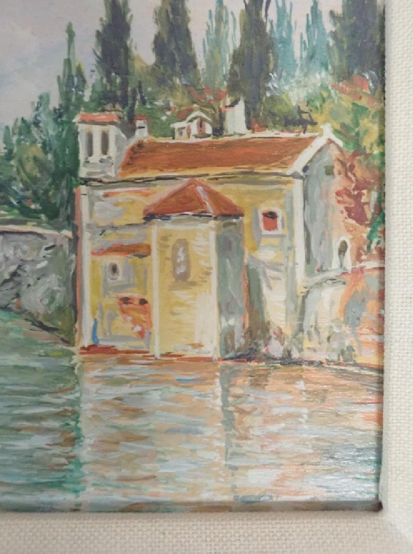 Signed Waterfront Villa Oil Painting - 8