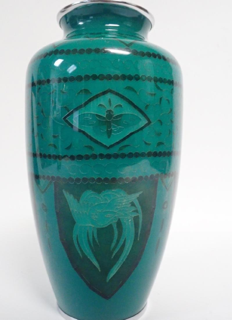 Asain Jade Green Cloisonne Vase - 3