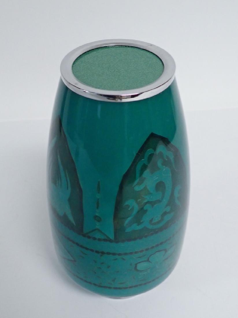 Asain Jade Green Cloisonne Vase - 7