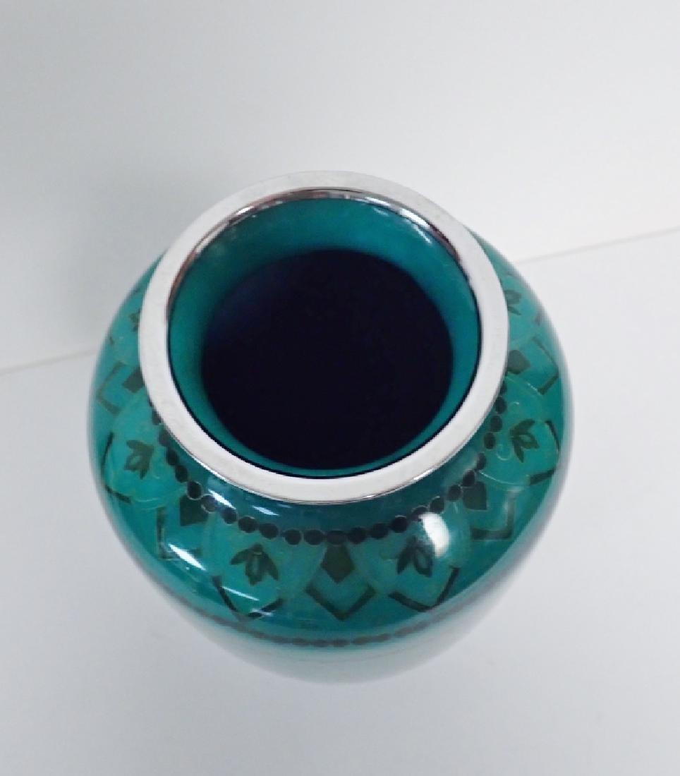 Asain Jade Green Cloisonne Vase - 9