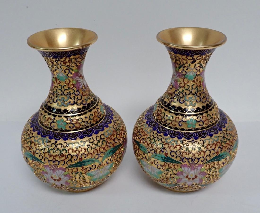 Pair of Vintage Gilt Brass Cloisonne Vases - 10