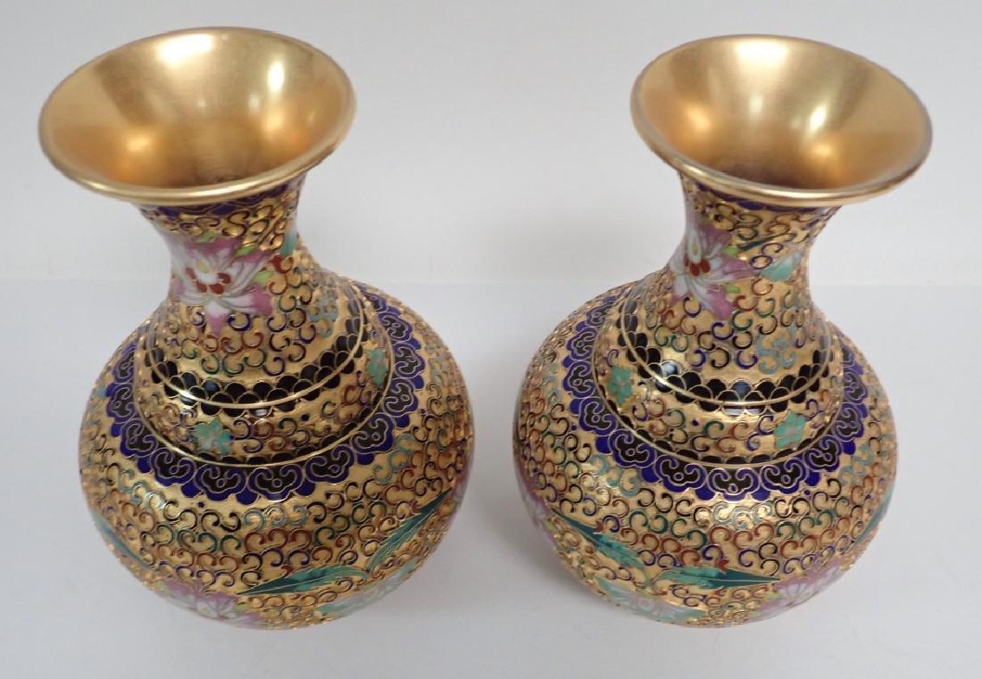 Pair of Vintage Gilt Brass Cloisonne Vases - 2