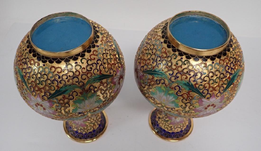 Pair of Vintage Gilt Brass Cloisonne Vases - 3