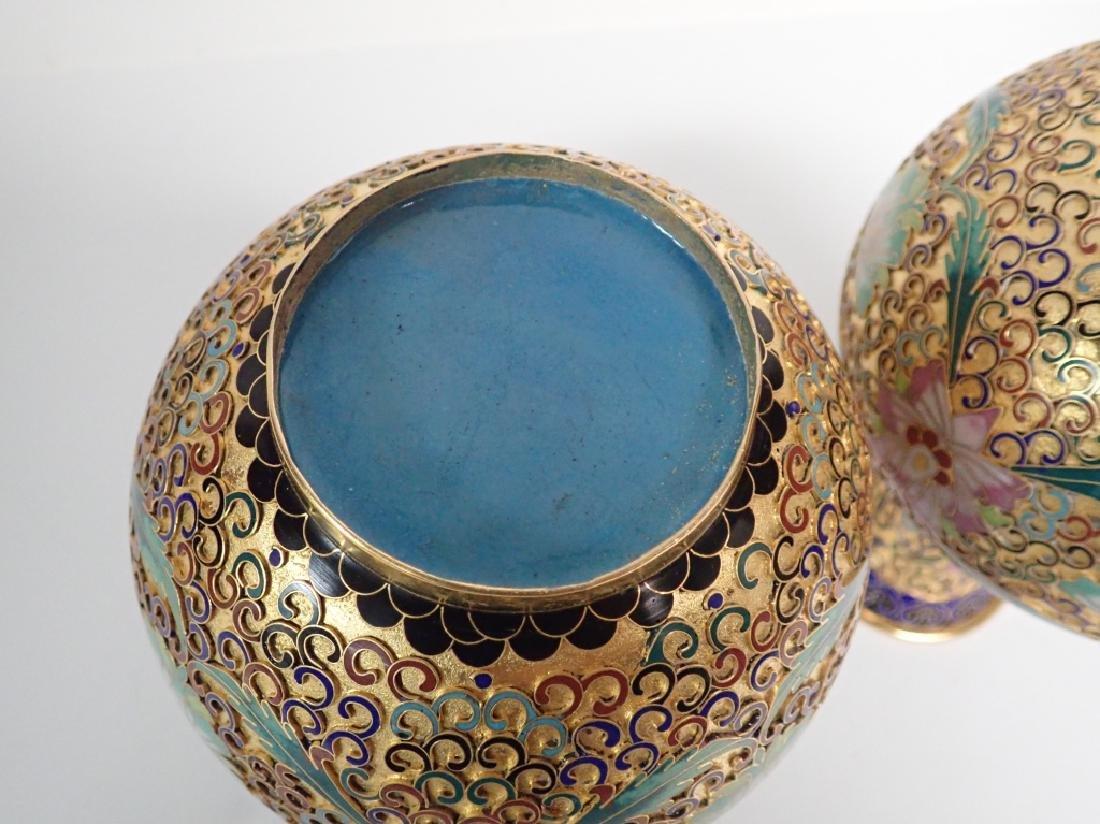 Pair of Vintage Gilt Brass Cloisonne Vases - 4