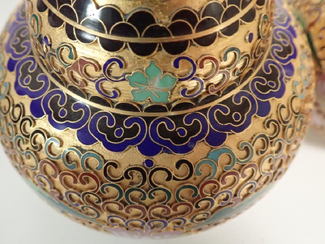 Pair of Vintage Gilt Brass Cloisonne Vases - 9