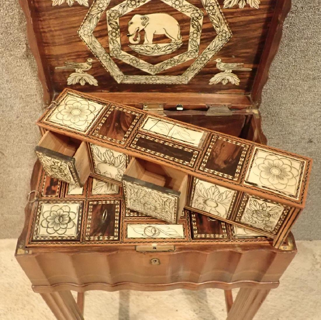 Anglo-Indian Zebra Wood Tea Box Table W Inlaid Drawers