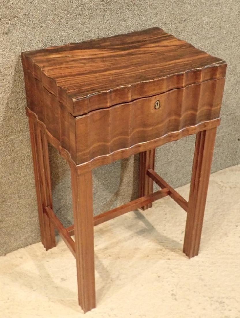 Anglo-Indian Zebra Wood Tea Box Table W Inlaid Drawers - 2