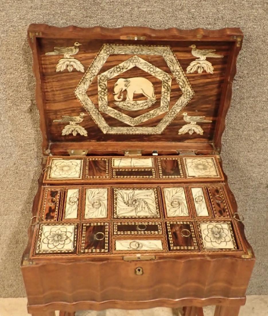 Anglo-Indian Zebra Wood Tea Box Table W Inlaid Drawers - 3