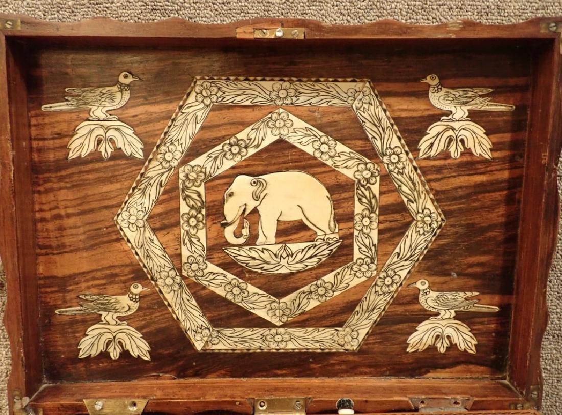 Anglo-Indian Zebra Wood Tea Box Table W Inlaid Drawers - 4