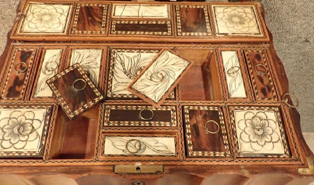 Anglo-Indian Zebra Wood Tea Box Table W Inlaid Drawers - 5