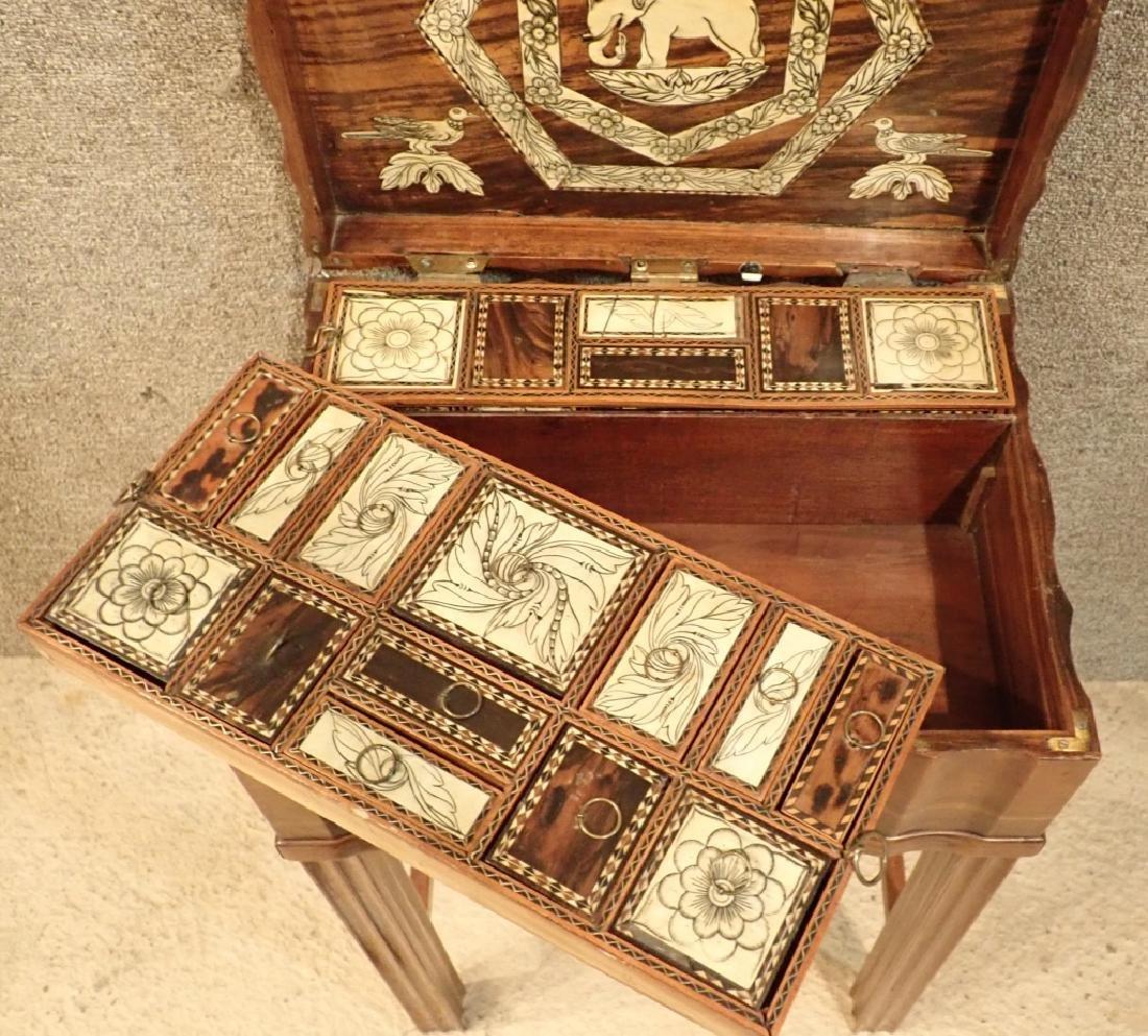 Anglo-Indian Zebra Wood Tea Box Table W Inlaid Drawers - 6