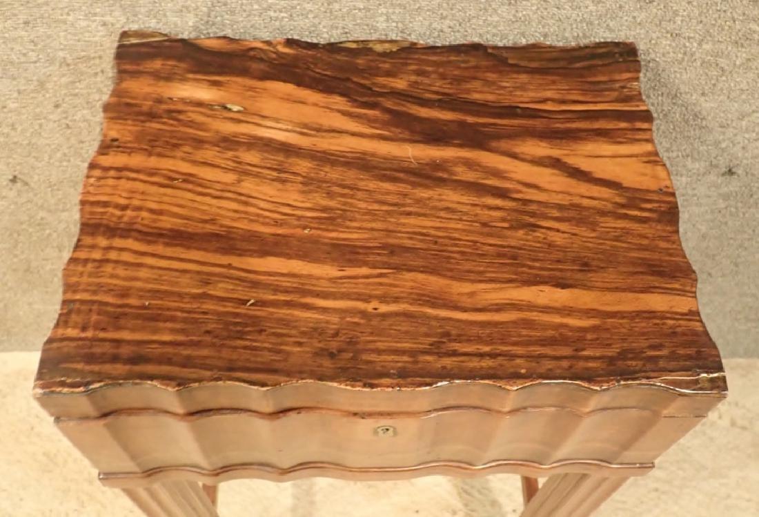 Anglo-Indian Zebra Wood Tea Box Table W Inlaid Drawers - 9