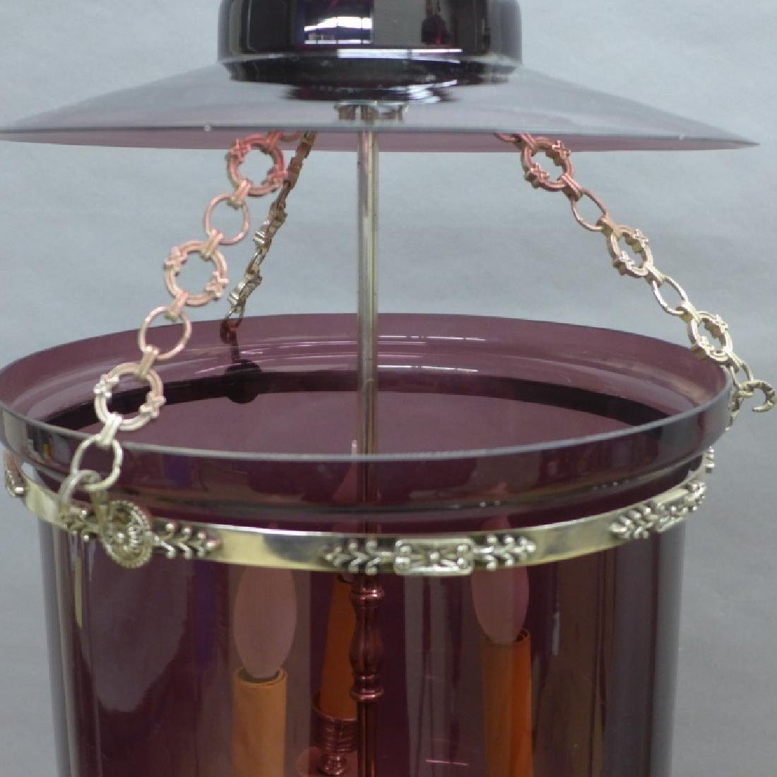 Amethyst Glass Bell Form Lantern Chandelier - 2