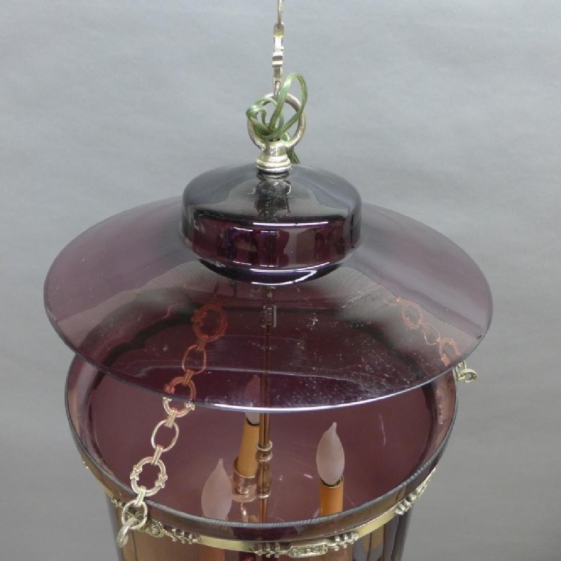 Amethyst Glass Bell Form Lantern Chandelier - 3