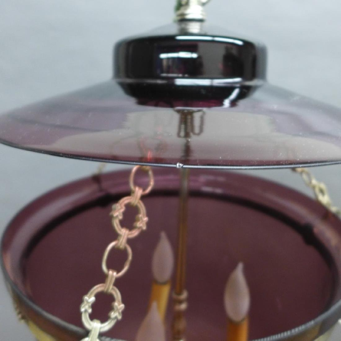 Amethyst Glass Bell Form Lantern Chandelier - 6