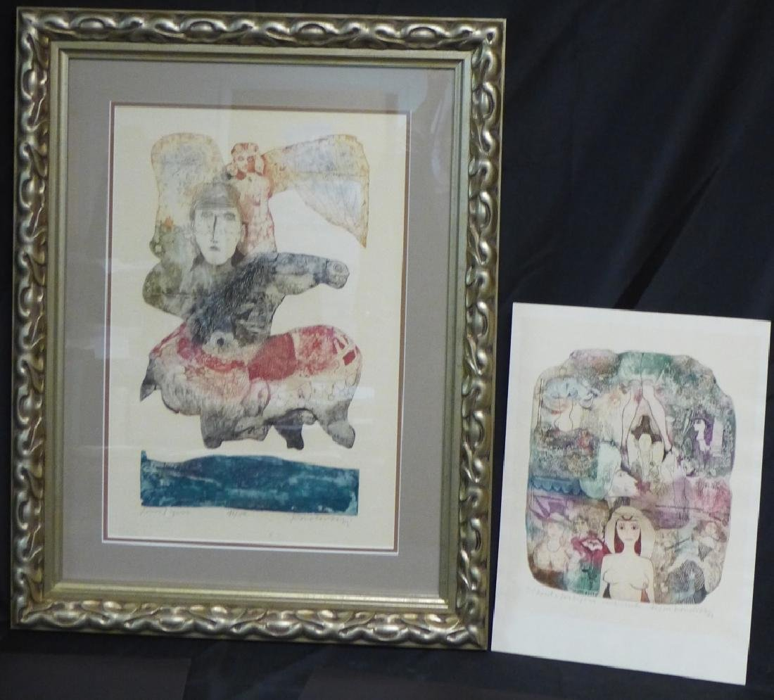 Two Artist Signed Abstract Figural Etchings