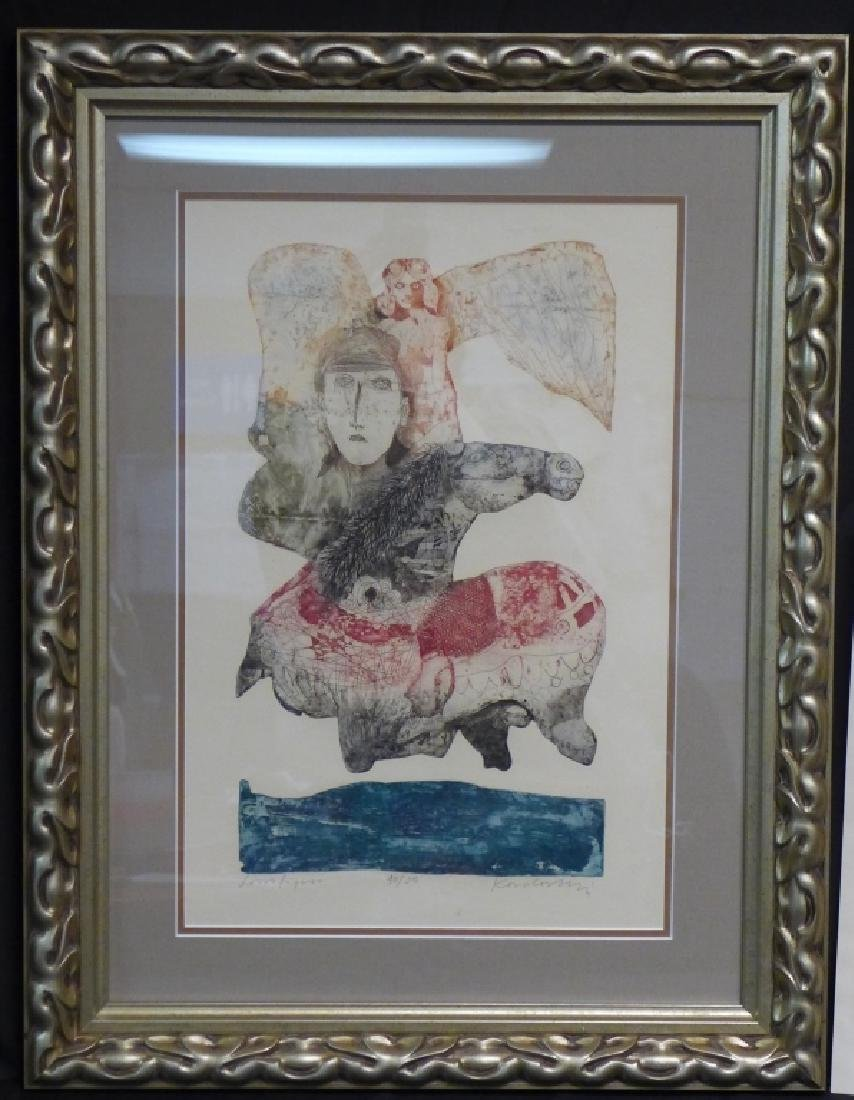 Two Artist Signed Abstract Figural Etchings - 2