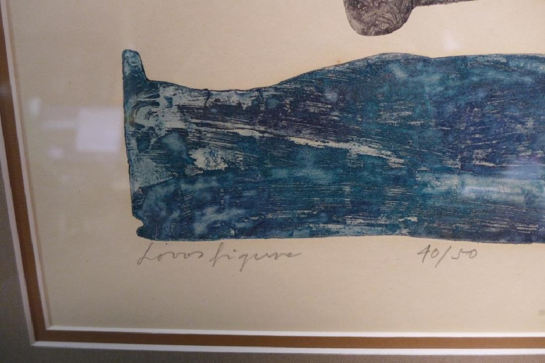 Two Artist Signed Abstract Figural Etchings - 3