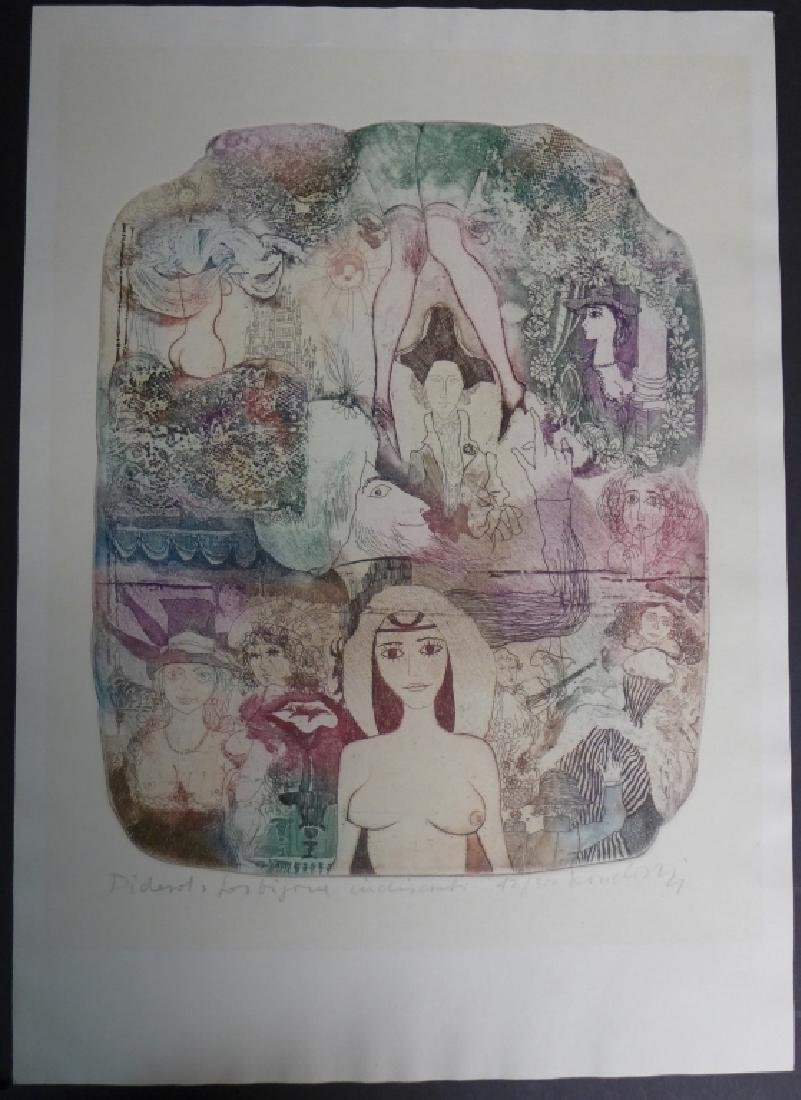Two Artist Signed Abstract Figural Etchings - 7