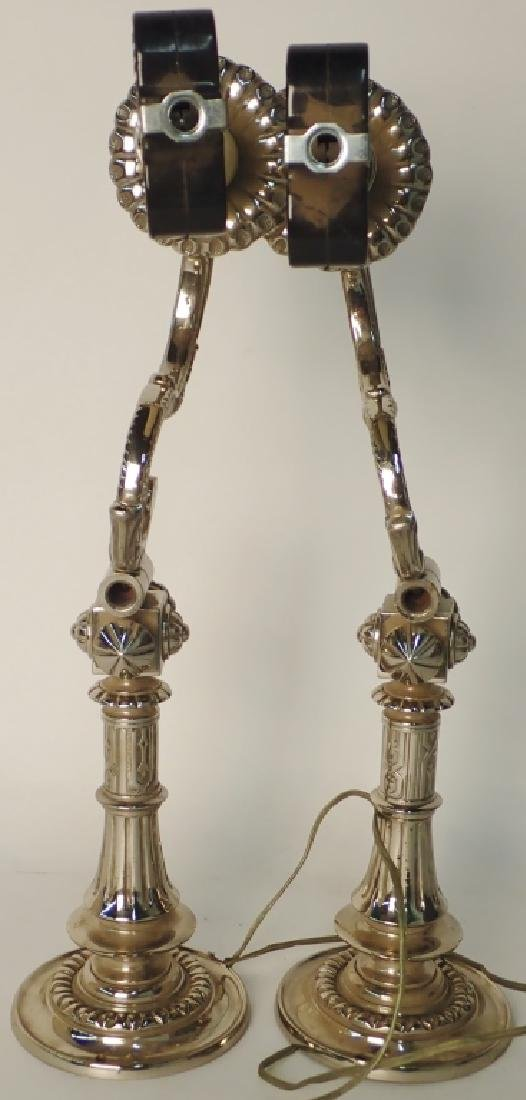 Victorian Nickel Over Bronze Swing Arm Sconces - 10