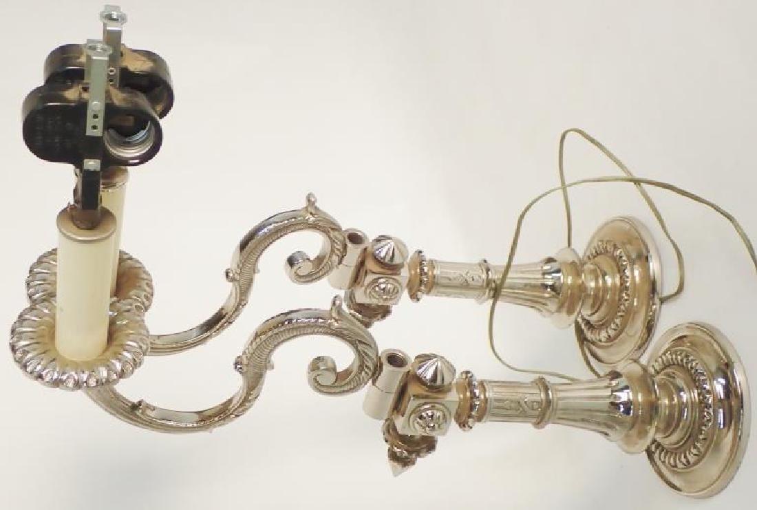 Victorian Nickel Over Bronze Swing Arm Sconces