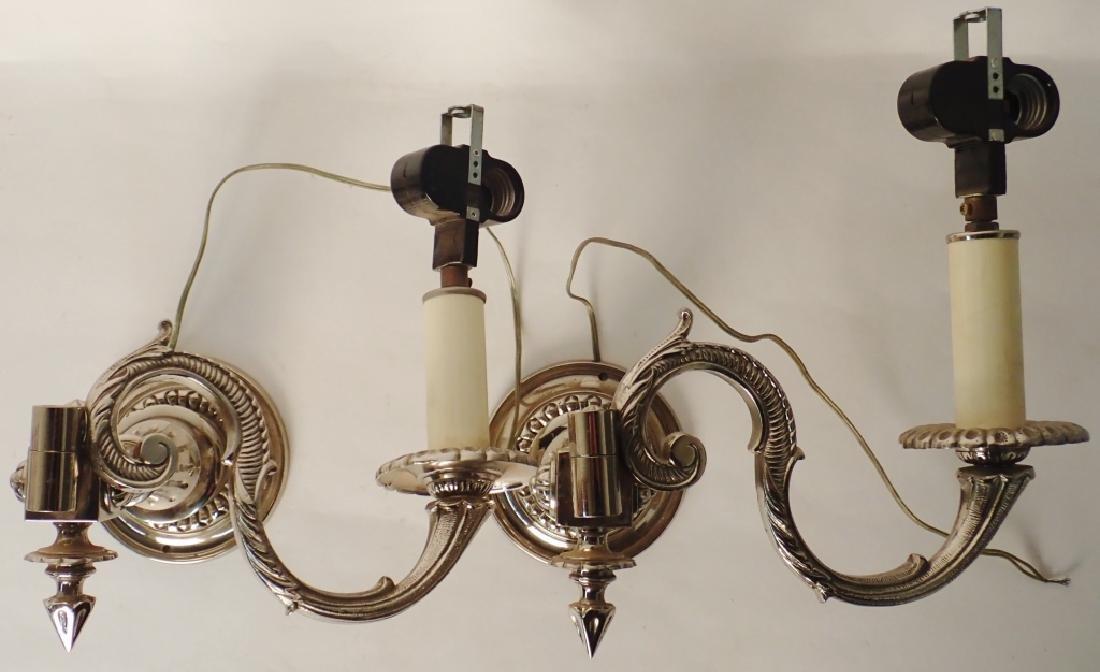 Victorian Nickel Over Bronze Swing Arm Sconces - 3