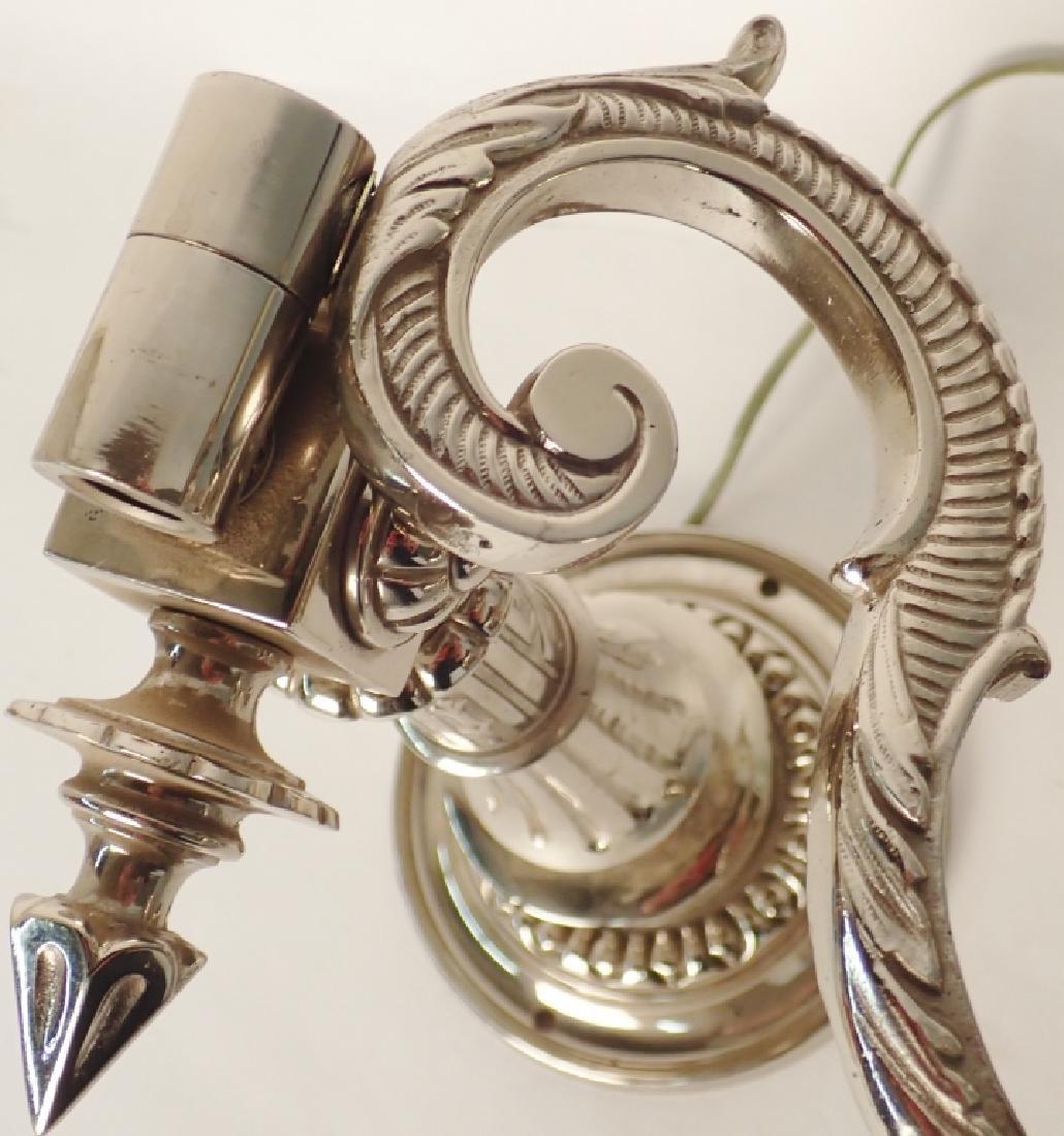 Victorian Nickel Over Bronze Swing Arm Sconces - 6