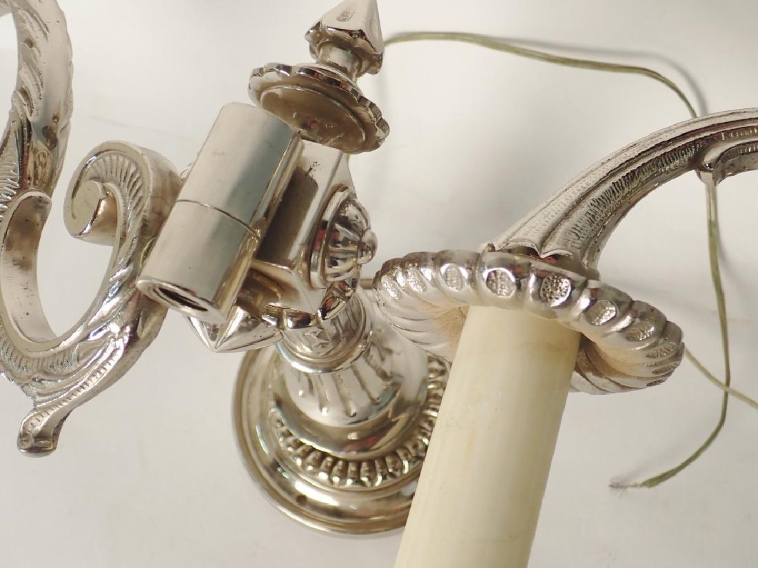Victorian Nickel Over Bronze Swing Arm Sconces - 8