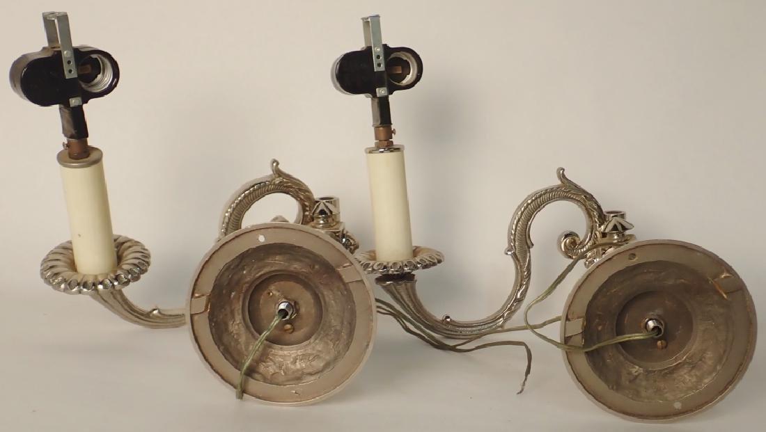 Victorian Nickel Over Bronze Swing Arm Sconces - 9