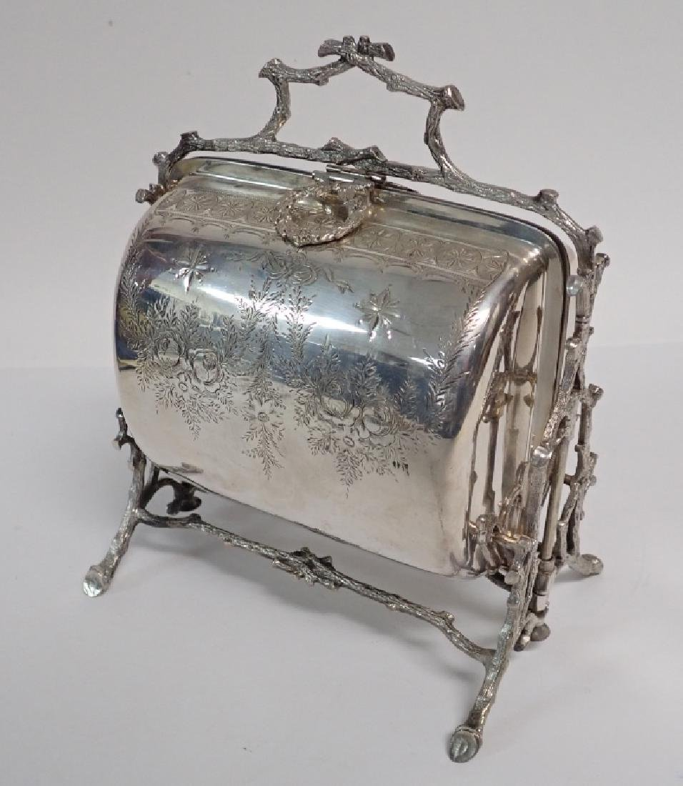 19th Century Silver Plate English Biscuit Warmer