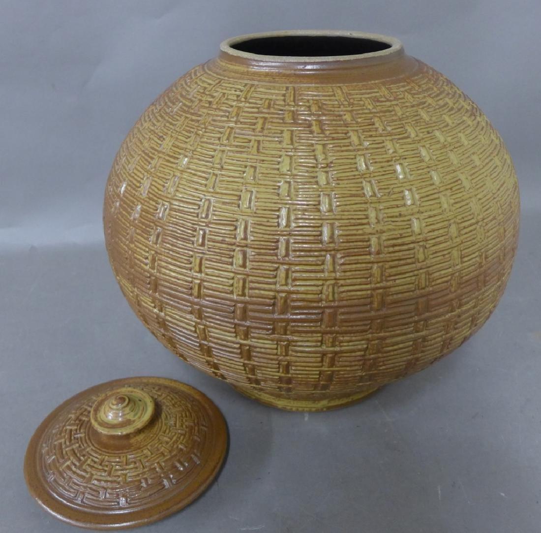 Basket Weave Impressed Ceramic Covered Jar - 2
